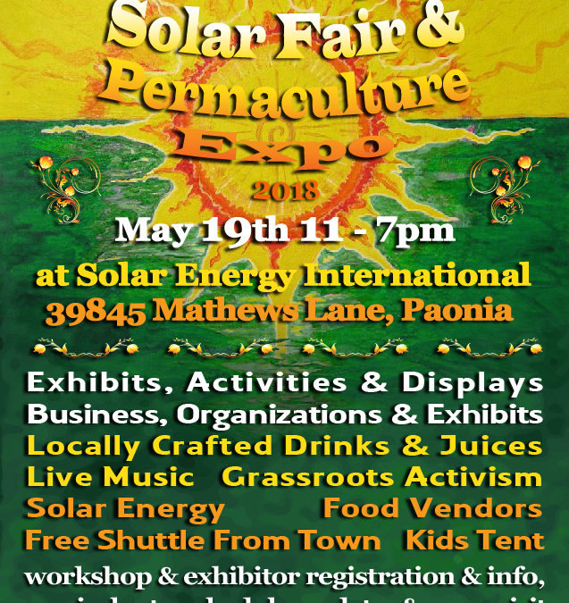 Musical Line Up Announced – May 19 Solar Fair in Paonia